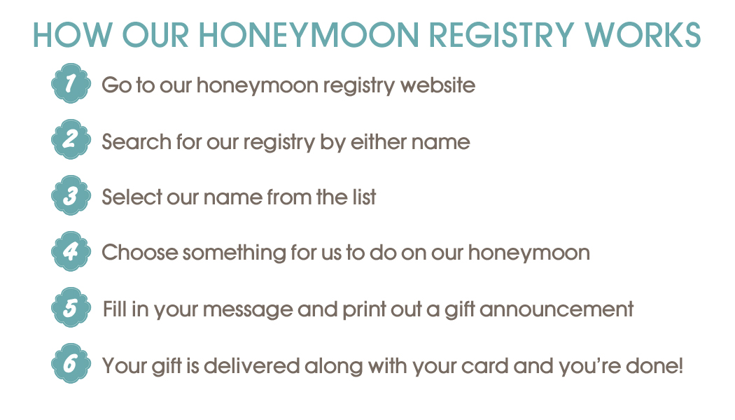 wedding registry honeymoon trip registry