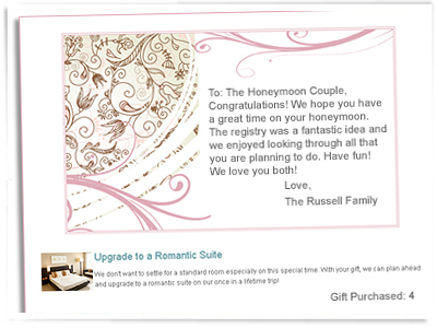 Gift Card Wedding Registry on Honeymoon And Wedding Gift List Gift ...